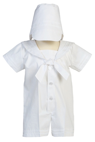 Nautical Sailor Christening Romper Outfit Poly Cotton (OWEN)