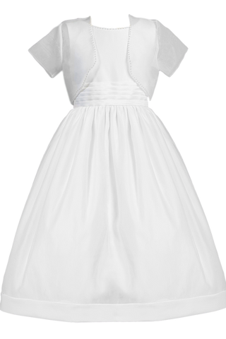 White Satin & Organza Girls Communion Dress w. Bolero Jacket SP970
