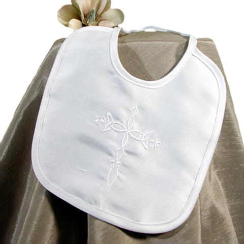 Embroidered Celtic Cross Silk Handmade Christening Bib (3DPBIBC)