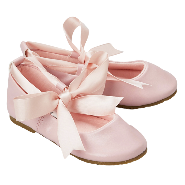 Pink Ballet Flats Girls Dress Shoes with Ribbon Tie (BS004)