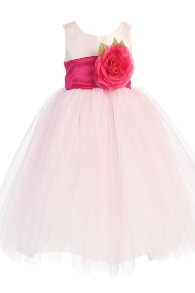 Pink Polysilk Flower Girl Dress w. Ballerina Tulle Skirt & Custom Sash  BL228