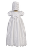 Satin & Embroidered Lace Long Christening Gown Baby Girls - Cathy