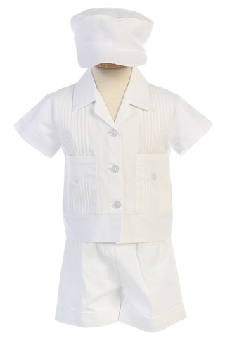 White Cotton Blend Boys Baptism Shorts Set w. Pin Tucked Shirt  Daniel