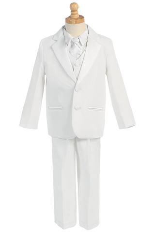 Boys White 2-Button Tuxedo w. Vest & Necktie Color Choice 7515