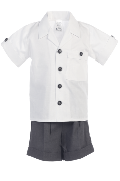Charcoal Grey Linen Shorts & Shirt Spring Outfit Baby & Toddler Boys (G833)