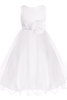 Girls Size 12 White Sequined Bodice Party Dress with Lettuce Hem Tulle Skirt  KD305