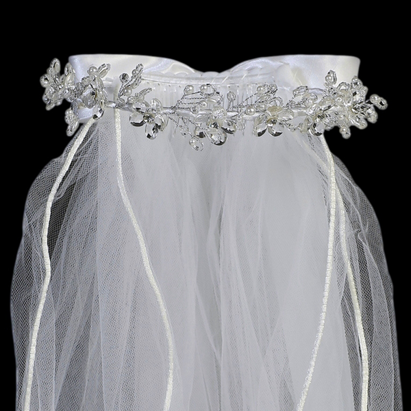 Crystal Floral Crown w Pearls First Holy Communion Veil (T-29)