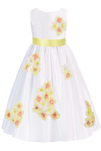 Yellow Dimensional Flowers on White Shantung Girls Dress (204-F)