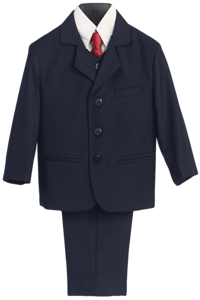 Boys Navy 5pc Dress Suit w. 3-Button Jacket 3710