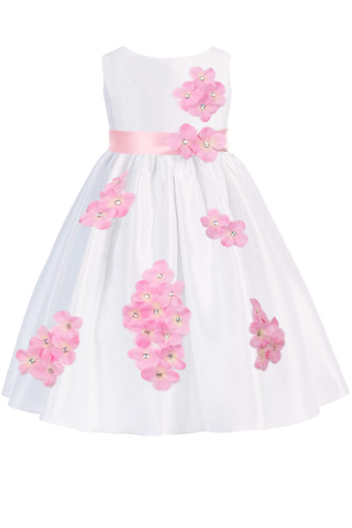 Pink Dimensional Flowers on White Shantung Baby Girls Dress (219-F)