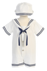 White Seersucker Nautical Sailor Romper Spring Outfit Baby Boys (G255)