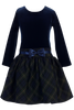 Navy & Green Plaid Girls Drop Waist Velvet Holiday Dress  C963