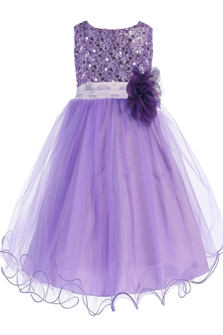 Lavender Sequins, Satin & 2 Layer Mesh Girls Formal Occasion Dress (305)
