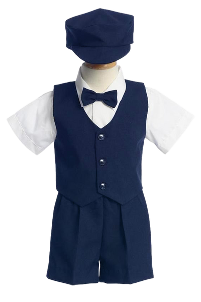Boys Navy Blue Vest & Shorts Dresswear Set with Cap G815