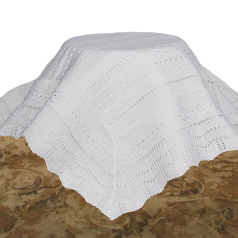 Knit White Acrylic High Quality Shawl Blanket Infants (ASHAWL2)