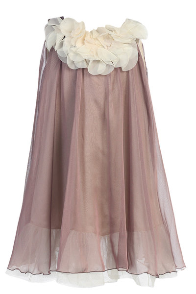 Mocha & Ivory Chiffon Girls Shift Dress w Petal Trim (284)