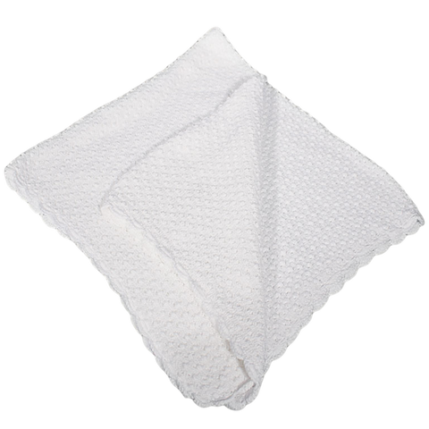 Popcorn Knit White 100% Cotton Shawl Blanket Infants (CKPSHAWL)