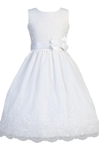 Embroidered Organza Lace First Communion Dress Girls Plus Size  SP110