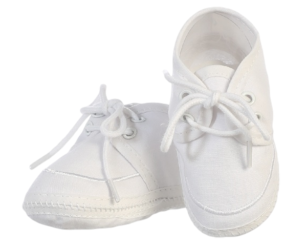 Baby Boys White Cotton Oxford Bootie Shoes BT-14