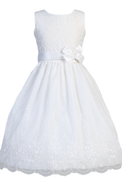 Floral Embroidery & Scallops on Organza First Holy Communion Dress (SP110)