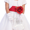 Girls White Satin Short Wrist Length Gloves