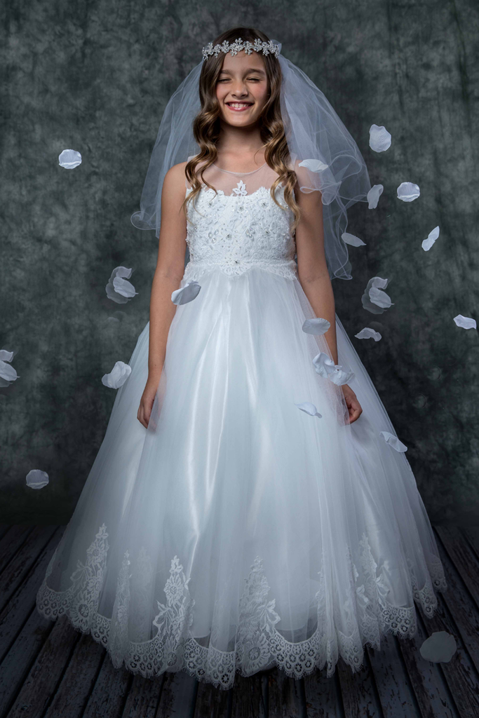 674472d11668 Tulle   Hand Beaded Floral Lace Girls Full Length Communion Gown KD7007 ...