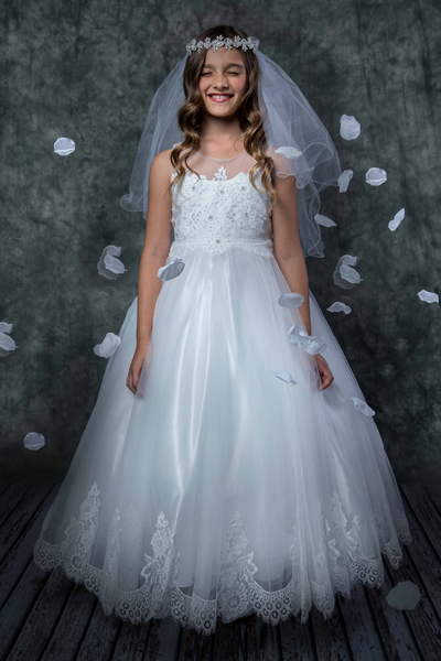 Tulle & Hand Beaded Floral Lace Girls Full Length Communion Gown  KD7007