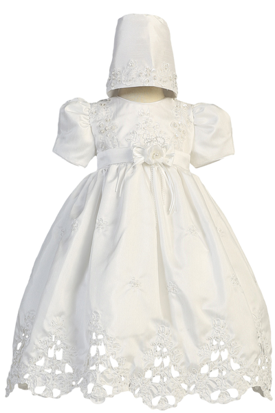 Cut Work Shantung & Floral Embroidery Christening Dress White (2180)
