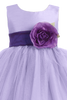 Lilac Tulle & Poly Silk Blossom Flower Girls Dress w Purple Sash (BL228)