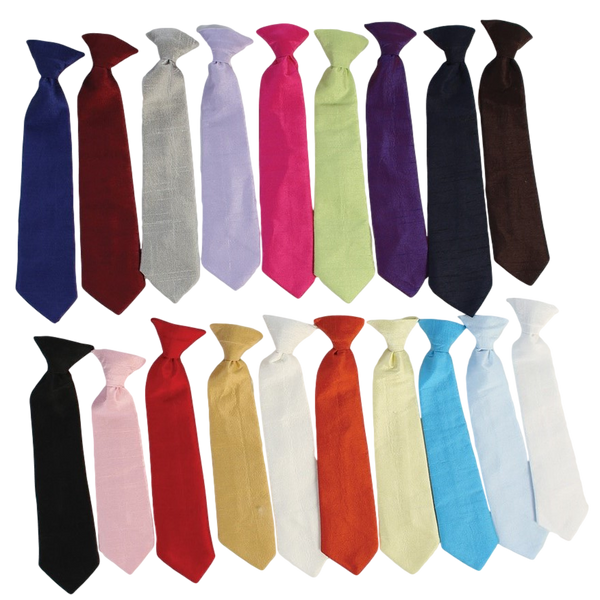 Poly Silk Solid Boys Clip-on Necktie in Assorted Colors  NTIE