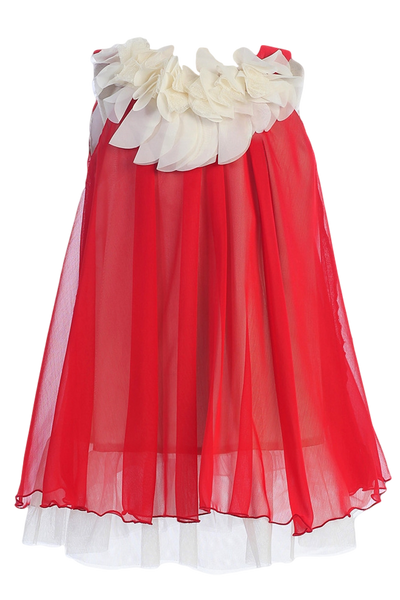 Girls Red Chiffon Shift Dress w. Ivory Petal Trim KD284