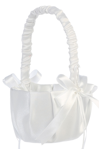 Pleated Matte Satin Flower Girls Basket w Pearls & Bows (FB70)