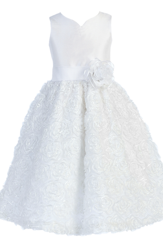 Shantung & Ribbon Flowers on Tulle White First Holy Communion Dress (SP123)