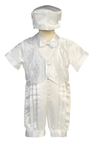 Romper w Embroidered Vest 2 Pc Satin Christening Outfit (8700)