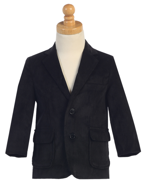 Black Two-Button Boys Corduroy Blazer Jacket  605