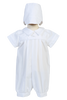 Pleated Cotton Boys Short Sleeve Baptism Romper Set w. Hat  Dylan