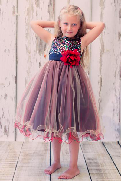 Red & Black Sequins & 3 Layers of Tulle Dress Girls (327)