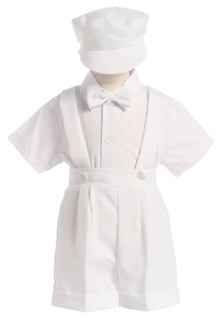 Baby Boys White Suspender Shorts Set w. Newsboy Cap  850