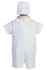 Embroidered Stripe Cotton Boys Baptism Romper w. Shirt & Cap  Archie