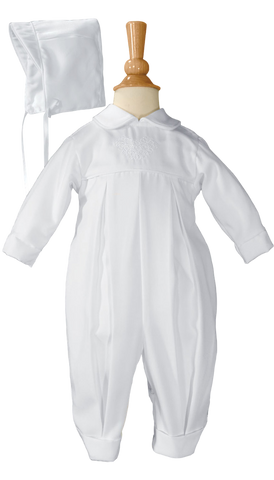 Boys Gabardine Irish Christening Coverall w. Embroidered Shamrocks  GBSH51