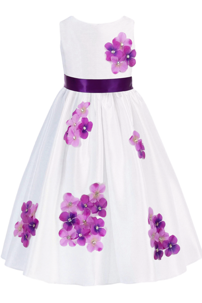 Purple Dimensional Flowers on White Shantung Girls Dress (204-F)