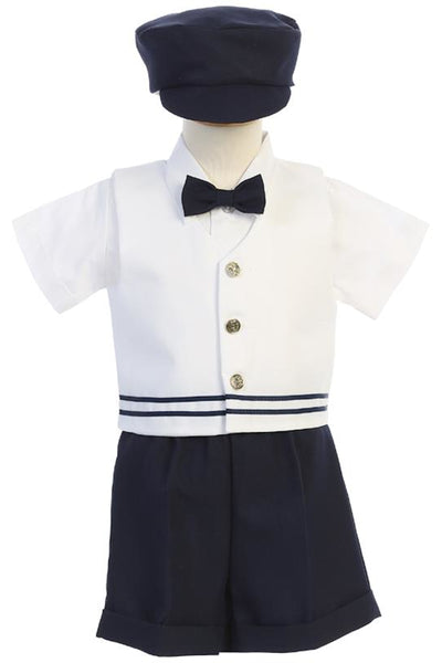 Navy Blue & White 5 pc Vest & Short Set w Newsboy Cap G837