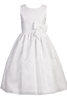 Subtle Striped Organza First Holy Communion Dress w Wide Satin Waist (SP152)