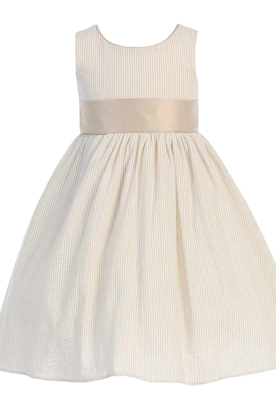 Khaki Tan Cotton Seersucker Girls Easter Spring Dress w PolySilk Sash (M642)