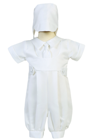 Matte Satin Layered Look Boys Baptism Romper w. Mock Tie  Matthew