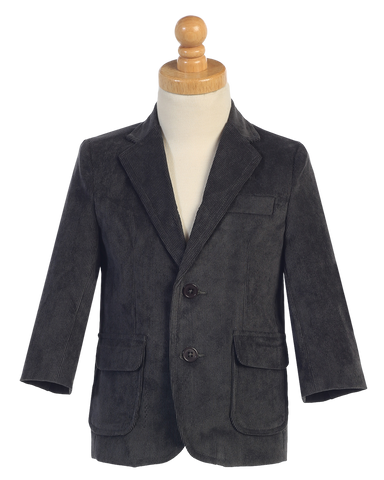 Dark Gray Two-Button Boys Corduroy Blazer Jacket  605