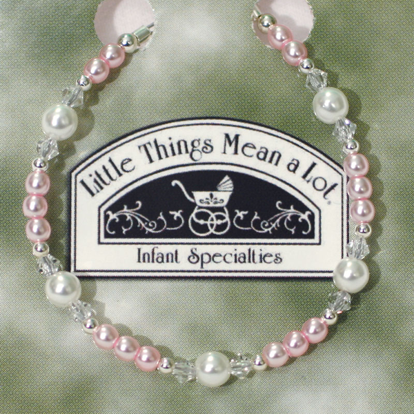 Pink, Pearl & Sterling Silver Beaded Bracelet Girls (BRACE2)