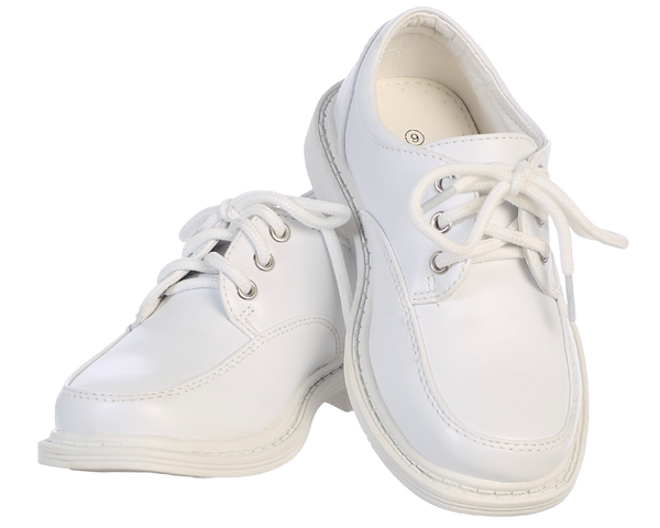 White Matte Finish Oxford Lace Tie Dress Shoes Boys (David)