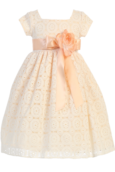 Girls Peach Floral Tulle Lace Dress w. Flower Accent M707