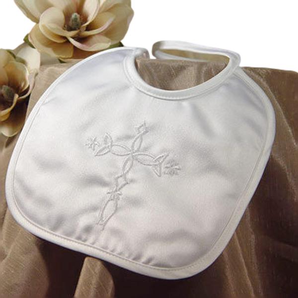 Embroidered Celtic Cross Handmade Christening Bib Boys (2MSCELXB)